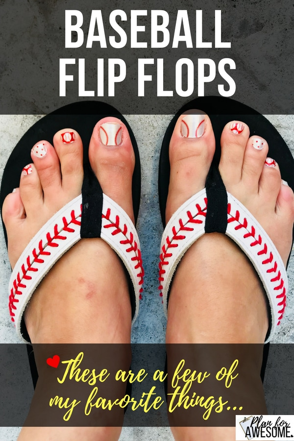 Baseball Flip Flops - Love these baseball flip flops! I wear them All. The. Time. They are comfy and adorable- I have gotten more compliments on these sandals than any other item of clothing I've ever owned! - PlanForAwesome