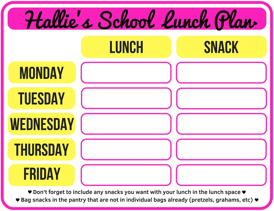FREE PRINTABLE Weekly School Lunch Plan - Have your kids fill these out ahead of time. Our mornings are SO MUCH SMOOTHER since we started doing this! PlanForAwesome!