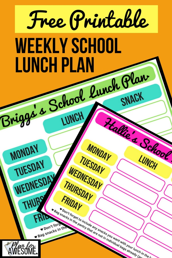 FREE PRINTABLE Weekly School Lunch Plan - Have your kids fill these out with their school lunch ideas. Our mornings are SO MUCH SMOOTHER since we started doing this! PlanForAwesome
