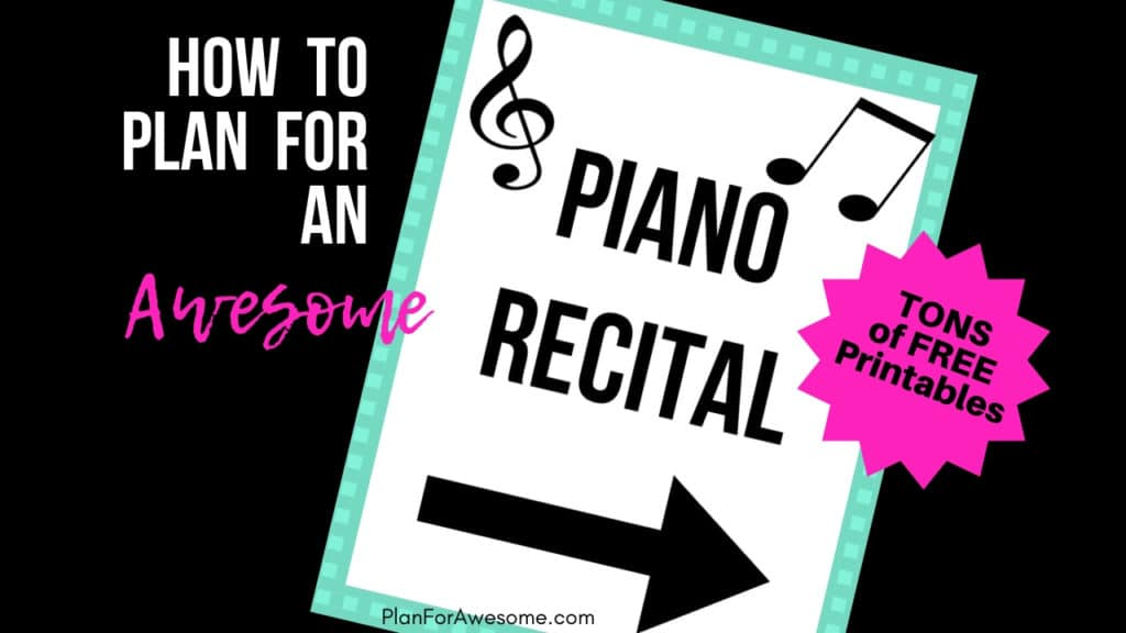 How to Plan For An Awesome Piano Recital - Free Printables! If you are a piano teacher, you will want to read this post. Tons of great ideas with free printables to go along with the brilliant ideas! Very well thought-out and super organized. PlanForAwesome