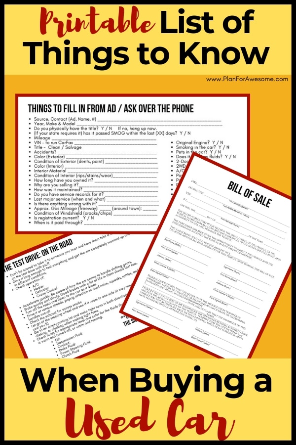 photo relating to Take What You Need Printable titled Printable Listing of Components in direction of Recognize While Acquiring a Employed Car or truck