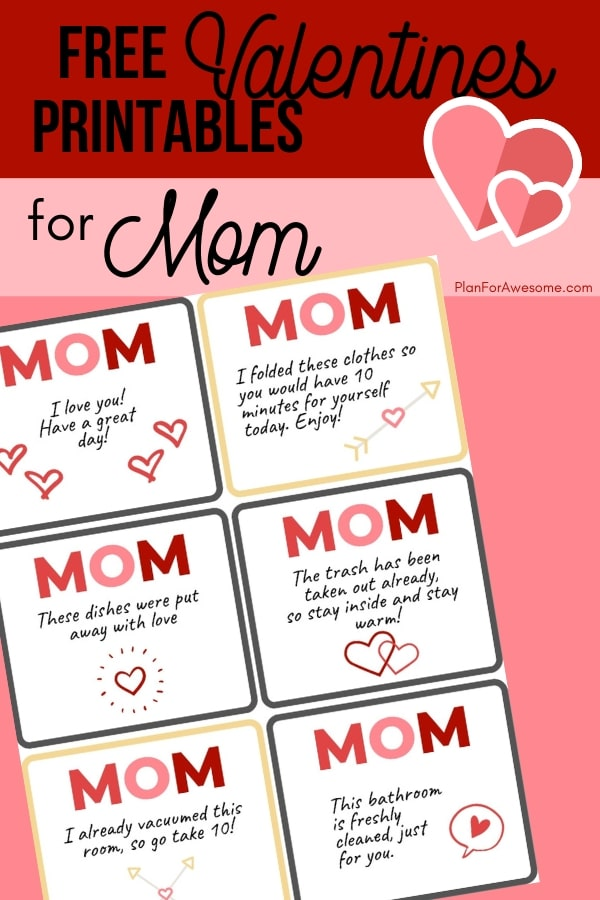 Free Valentines Printable Acts of Service for Mom - These adorable FREE PRINTABLE notes for mom are perfect for kids to use. Great for Valentine's Day or any other day of the year! -PlanForAwesome