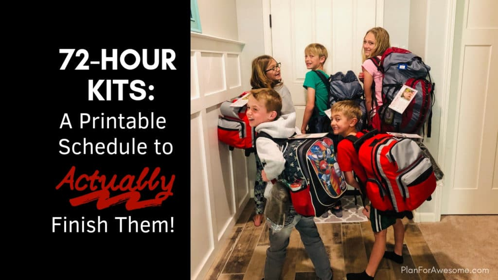 72-Hour Kits: A Printable Schedule to Actually Finish Them! If you are totally overwhelmed by putting together 72-hour emergency kits for your family, this website is gold! It provides a free printable, step-by-step, organized way to start and actually finish your family's 72-hour kits! -PlanForAwesome