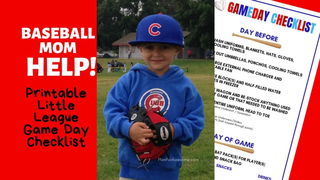 Baseball Mom Help! Free Printable Little League Game Day Checklist...this girl is so freaking organized, I love it! This printable is adorable and helps get us ready for game days every week!