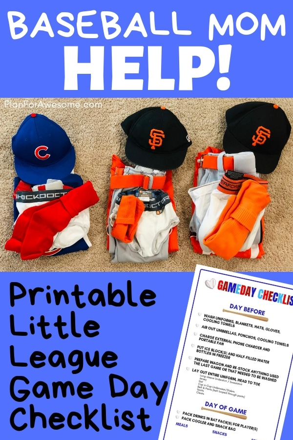Baseball Mom Help! Free Printable Little League Game Day Checklist...This girl has thought of EVERYTHING to help you get ready for a day at the Little League field without being stressed out and late! This website is AWESOME!