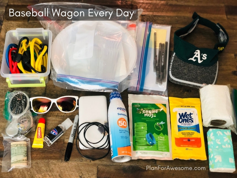 Baseball Wagon: The Ultimate List of Things to Bring for Little League Game Days - This is the BEST, most comprehensive list I have seen for what to bring to be prepared for baseball games. It covers EVERYTHING, and even has a free printable checklist!