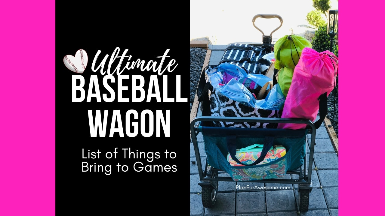 Baseball Wagon: The Ultimate List of Things to Bring to Little League Games - This is the BEST, most comprehensive list I have seen for what to bring to be prepared for baseball game days. This girl covers EVERYTHING! Plus, a free printable checklist!
