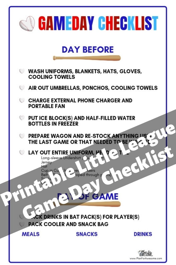 Baseball Mom Help! Free Printable Little League Game Day Checklist...This girl has thought of EVERYTHING to help you get ready for a day at the Little League field without being stressed out and late! This website is GOLD!