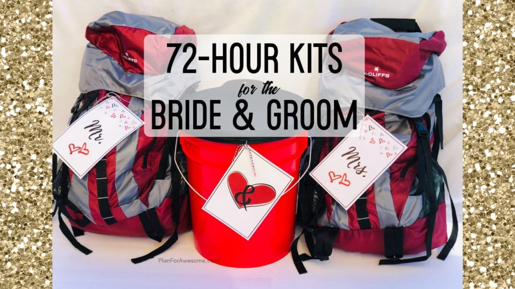 Awesome wedding gift idea to give newlyweds 72-hour kits! Cute Mr. & Mrs. free printables too!