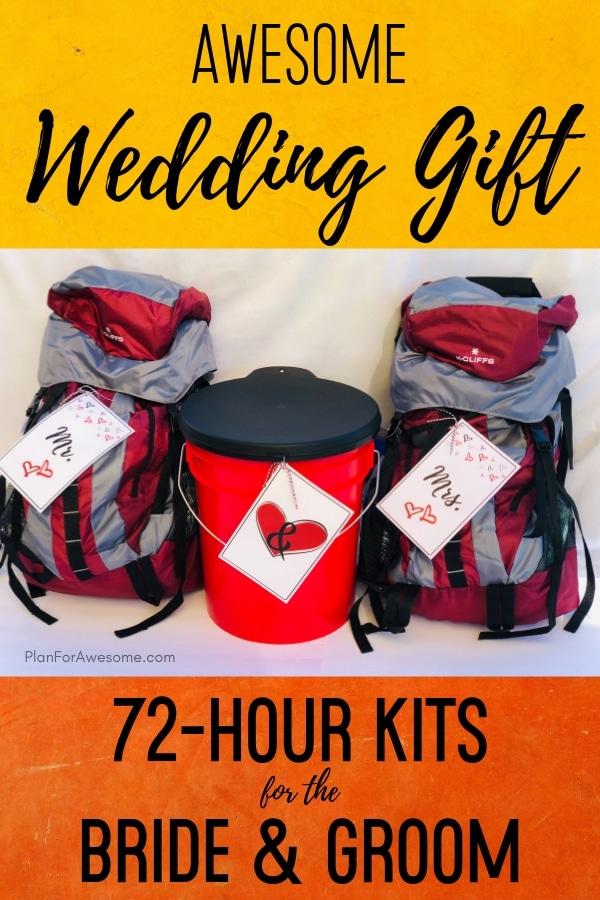 Awesome wedding gift idea to give newlyweds 72-hour kits!  Free printables too!