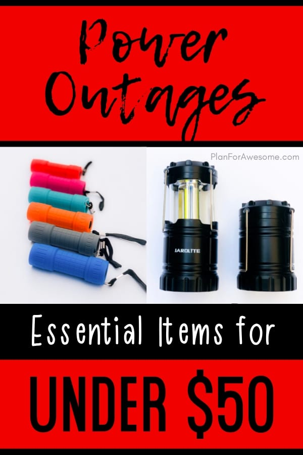 Essential items to have in your home in the event of an extended power outage, UNDER $50!  What a GREAT resource - lots of pictures and easy to read!  Love this website: PlanForAwesome.com  #poweroutage #emergencypreparedness