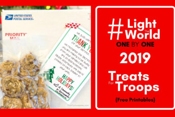 #LightTheWorld 2019 - Treats for Troops - What a great idea to light the world this year! This girl is even willing to customize the flyer to help you organize it FOR FREE ! Can't wait to do this with my ward! #LightTheWorld #LightTheWorld2019 #soldiercarepackage
