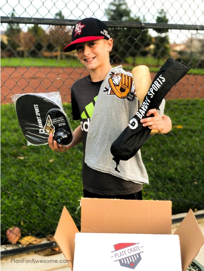 The BEST GIFT EVER for Baseball Lovers (plus a $20 off coupon) - A surprise box full of baseball gear, apparel, training aids, accessories, and snacks - my son LOVED it!  #baseballgiftideas #baseballmom