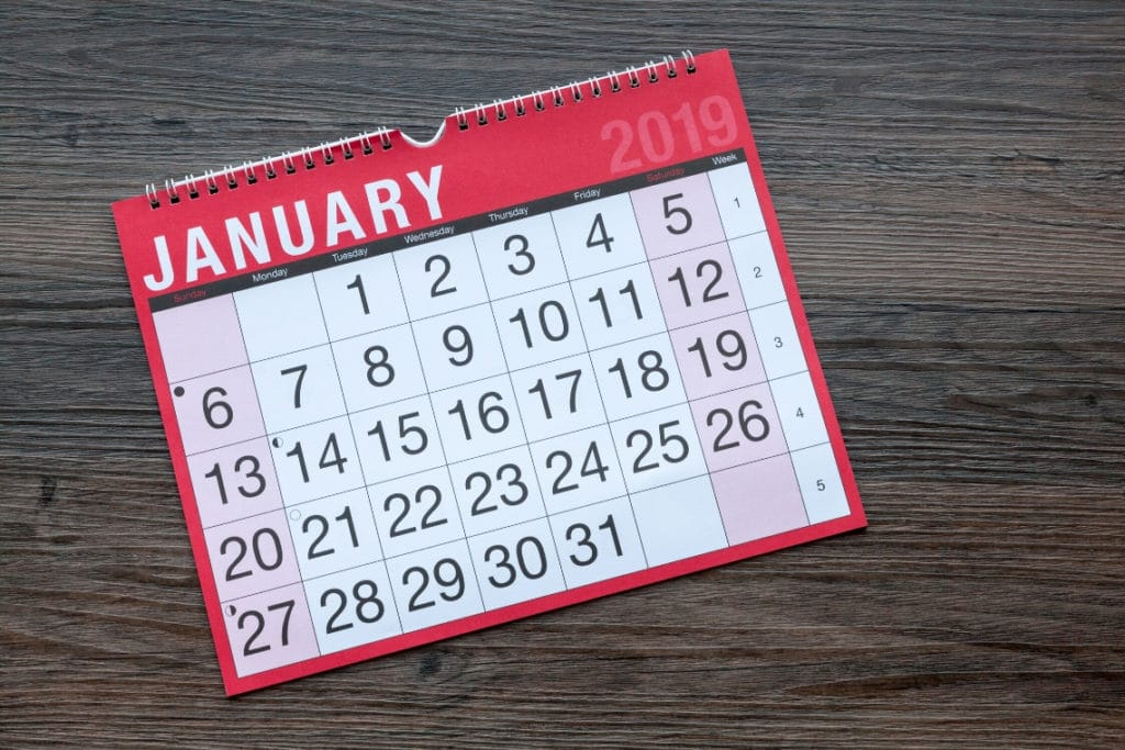 Picture of a calendar turned to the month of January, because that is the month of Little League Baseball tryouts! #baseballmom #littleleaguemom