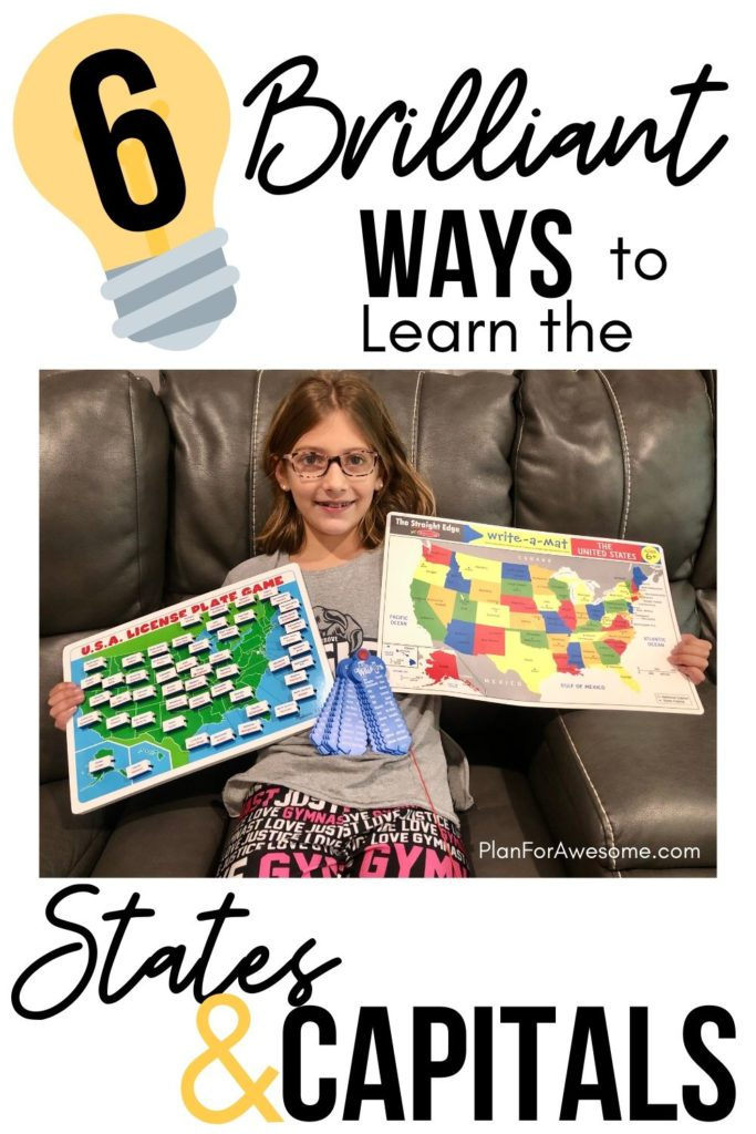 6 Brilliant Ways to Learn the States & Capitals - these ideas are SO AWESOME!  I've never seen these ideas before - I just ordered #1 and #3!! #statesandcapitals #learningstatesandcapitals