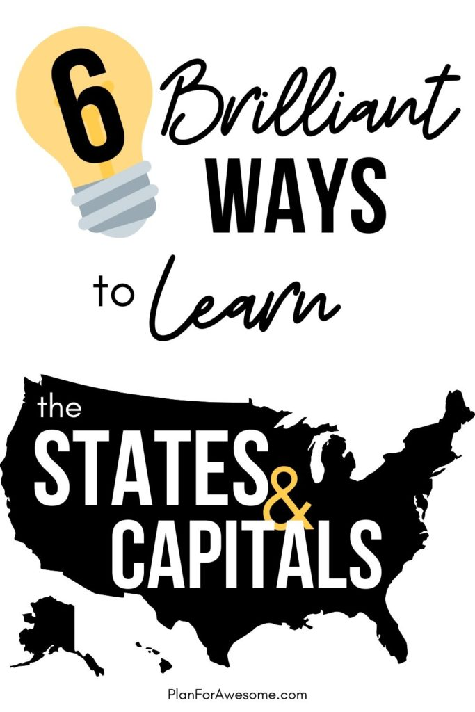 6 Brilliant Ways to Learn the States & Capitals - these ideas are awesome!  I've never seen these things before - I especially love #1 - just ordered mine! #statesandcapitals #learningstatesandcapitals