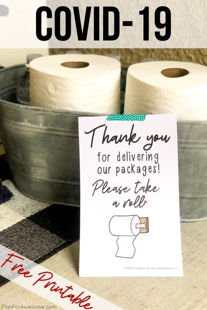 Free Printable Service Idea During COVID-19!  Thank your delivery people who are still out delivering all of those Amazon packages!  #covid19 #caronavirus