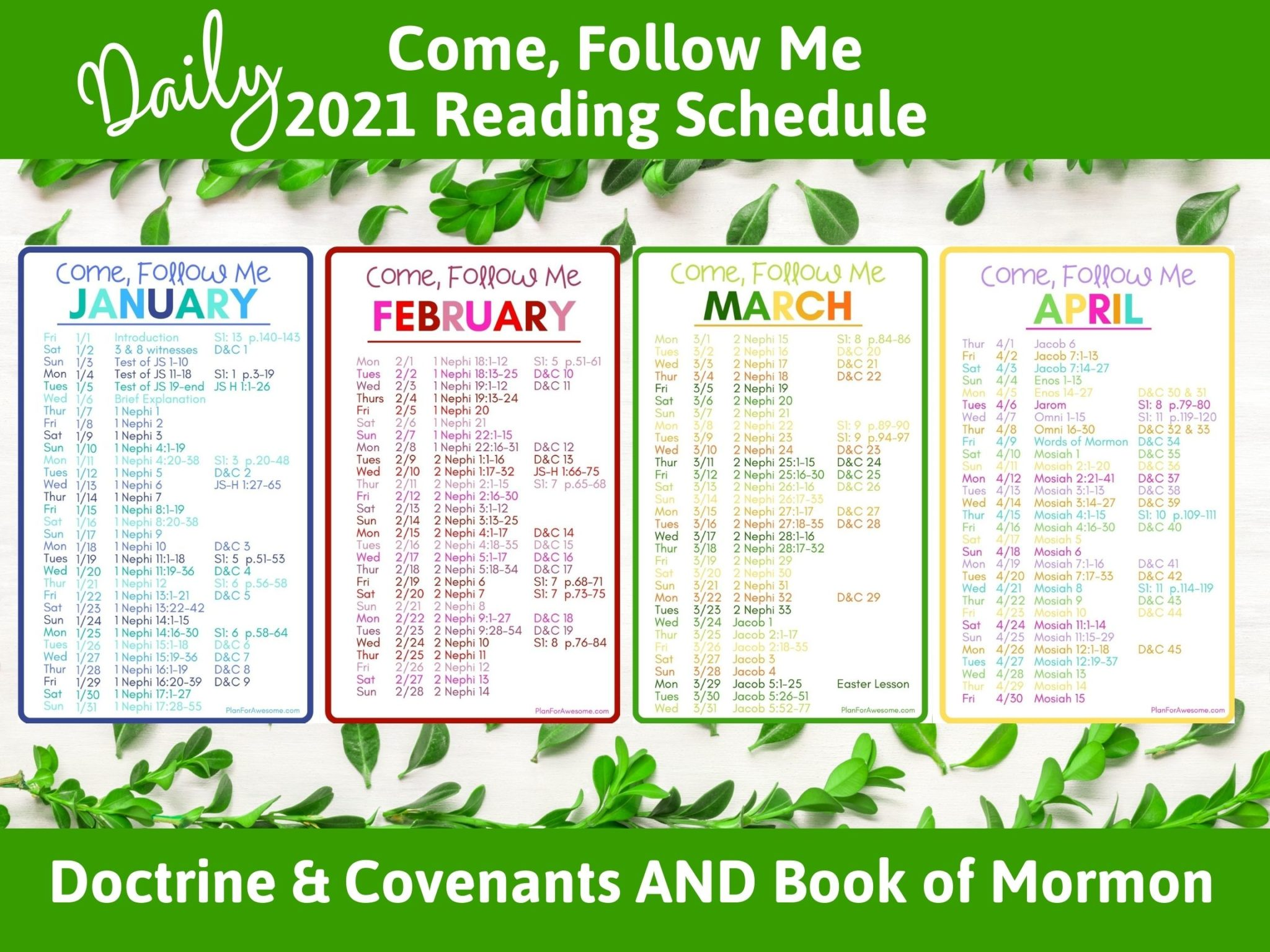 2021 Come Follow Me Daily Reading Schedule - D&C and BOM - PlanForAwesome