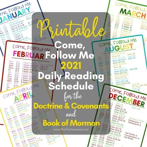 2021 Come Follow Me Daily Reading Schedule - BOM AND D&C
